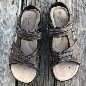 Men's Dockers Leather Velcro Sandals